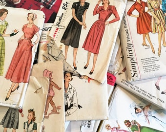 Lot of 50 Vintage Sewing Patterns 1940s And Beyond