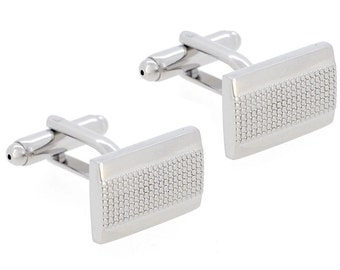 Silver Rectangle Dots Cufflinks 1200489