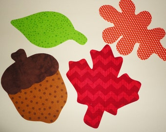 Iron On Applique...3 FALL LEAVES And An Acorn.....Fall Or Harvest Thanksgiving