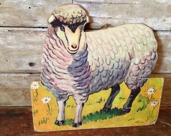 Vintage Sheep Press Hardboard  1940s