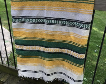 Vintage Hippie Fringed Blanket Multi Colors Green Yellow White