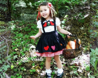 Toddler-Girls Little Red Riding Hood Pageant Costume-OOC-Theme Dress, Cape, Appliqued Skirt, Suspender, Flower Headpiece, 12 month -10
