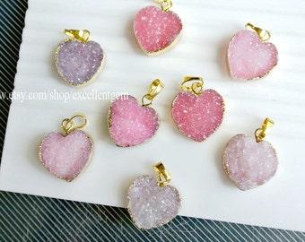 Druzy Druzy pendant, 7% off Pink Heart druzy agate pendant with 24kt Gold Plated Edge, gemstone Pendant- 20mm JSP-9214