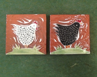 "ON SALE: Set of 2 chickens, hand carved  ceramic tiles 4"" x 4"" tile"