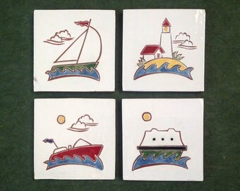 """Set of 4 boats and lighthouse handmade tiles, ceramic coaster or wall hanging 4""""x 4"""""""