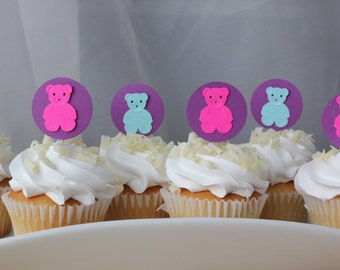 Teddy Bear Picnic Birthday Party Cupcake Toppers