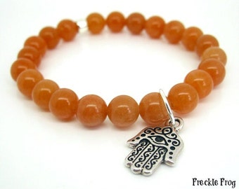 Stacking Bracelet - Red Aventurine with Hamsa Hand Charm, Wellbeing, Yoga Beads, Spiritual Jewellery