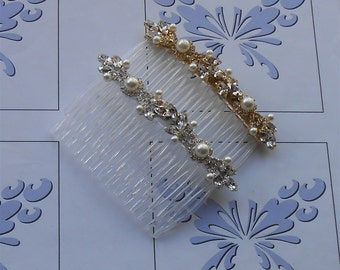 Bridal Hair Comb White Pearls, Marquise Rhinestones with Silver or Gold Settings