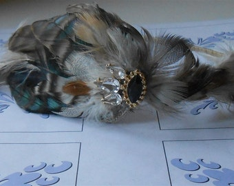 Wedding Headband Brown Feather 1920 Style Headpiece