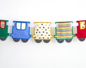 """Train Banner In The Hoop Project Machine Embroidery Designs Applique Patterns ITH in 4 variations and in 3 sizes each 4"""", 5"""" and 6"""""""