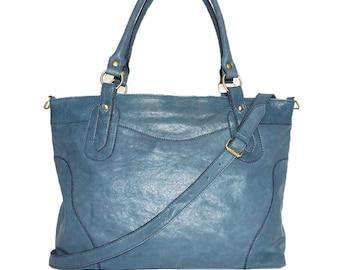 "Nora XL. Teal Blue Leather Cross-body Bag Purse // Leather Handbag // Leather messenger bag// fits a 17"" laptop"