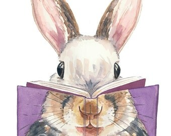 Watercolor PRINT - Rabbit Watercolour, Squirrel Painting, 5x7 Art Print, Book Lover, Reading