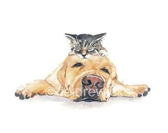 Watercolour PRINT, Dog Watercolor, Kitten Watercolor, Sleeping, Nursery Art, 5x7 Print