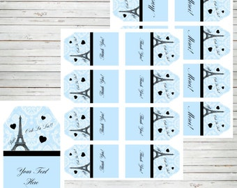 """Paris Editable 2x3.5"""" Tags (INSTANT DOWNLOAD) Merci Paris Tags, Paris Gift Tags ~ Birthday Party Baby Shower labels  or other event BD61"""