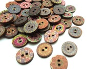 15 x Floral Hippy Pattern Buttons - Wooden Buttons - 15mm