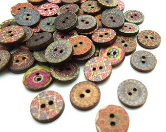 20 x Floral Hippy Pattern Buttons - Wooden Buttons - 15mm