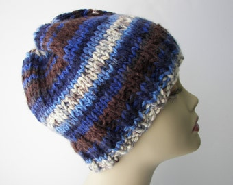 Hand Knit CHUNKY SOFT Beanie Hat in Blue Brown 100% Acrylic Unisex knit hat / Ready to ship