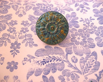 2 Turquoise Antiqued Floral Knobs with Yellow and Cobalt Highlights for Drawers or Cabinets on Fine Traditional Style Antiqued Copper B-25