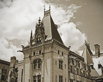 Biltmore Estate Photography-Architecture Photography-Sepia Wall Art-Fine Art Print-8x12/11x16/16x24/20x30/24x36-Castle-Horizontal Wall Art