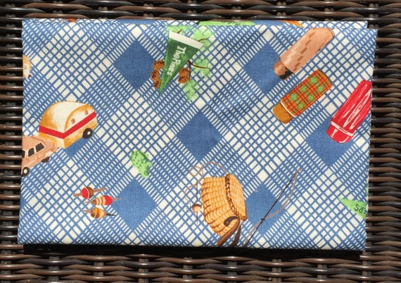 American Jane Happy Campers blue plaid camping gear moda fabrics FQ or more
