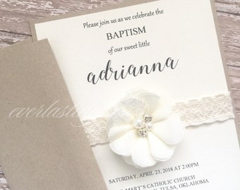 Shabby Chic Vintage Lace invitation, baptism, unique, first communion, birth announcement, bridal shower, rustic, wedding, save the date