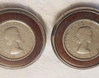 1950's Queen Elizabeth II sixpence clip on earrings