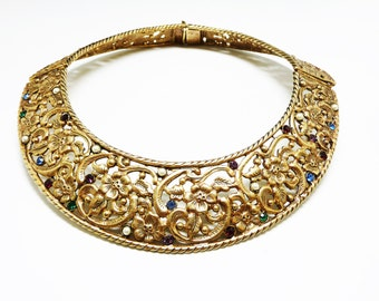 Vintage Collar Necklace - Hinged Wide Collar Necklace with Opened Work Floral Design, Rhinestones and Pearls; Etruscan Renaissance, Vintage