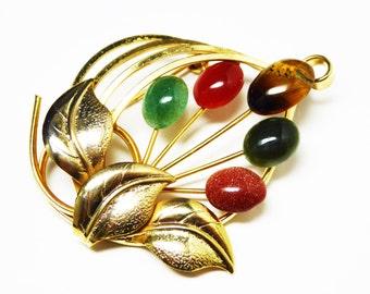 Vintage Gemstone Flowers Brooch - Citrine, Carnelian, Tigers Eye, Jade, Goldstone with Broad Leaves in Goldtone - Vintage 1960's Pin