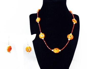 Pumpkin Orange Necklace & Earrings Set - Pierced Earrings and Princess Length Necklace - Demi Parure - Vintage 1970's 1980's
