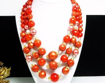 MultiStrand Orange - Red Necklace - Vintage Beaded Necklace, Pearlescent & Crystal Beads, 1950's Vintage Era