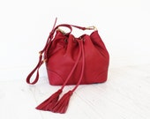 Wine Color Italian Leather Drawstring Bucket Bag. Adjustable Strap. Everyday Bag. Crossbody Handbag. Blossom Drawstring Bag.