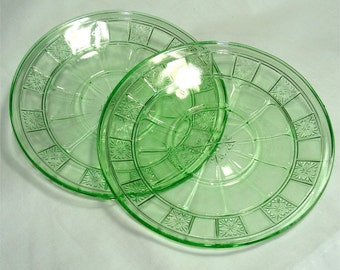 Green JEANNETTE Glass DORIC Saucer