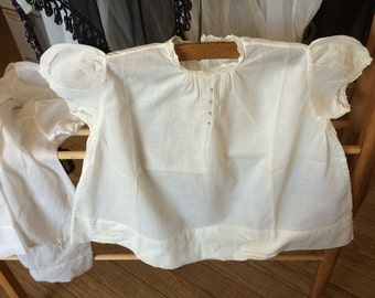 Vintage Christening Dress With Eyelet Trim and Mini Mini Pleats at Neckline Sheer White Cotton Sweet Short Christening Dress Vintage Baby
