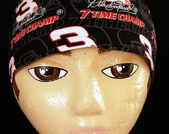 Handmade Dale Earnhardt # 3- Skull or Chemo Cap, NASCAR, Hair Loss, Hats, Head Wrap, Biker, Motorcycle, Races, Helmet Liner, Alopecia, Warm