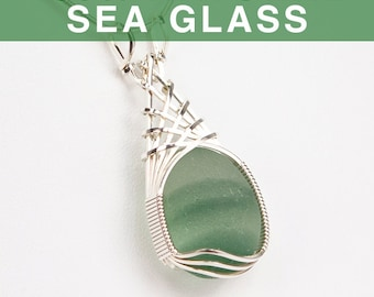 English Multi Green Sea Glass Pendant