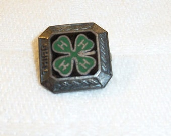 Vintage Small Green Enamel Sterling Silver 4H Pin