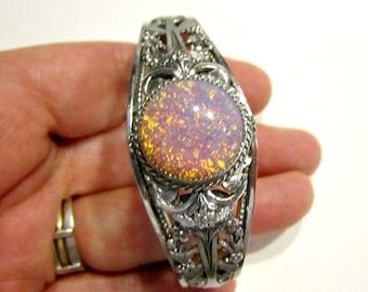 """Vintage Opal Bracelet Foil Back Glass Stone Pink Orange Faux Opal Filigree Silver Bracelet Hinge Snap Bracelet 6 3/4"""""""