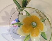 RESERVED- NELSON. F- Painted Martini Glasses,  Hand painted Flowers,