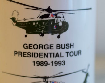 Vintage HMX-1 Mug, George Bush Mug, Presidential Tour, Historical Mug, Air Force One, Military Helicopter, George H Bush, 1989-1993, America