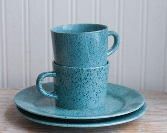 Blue Speckled Stoneware Japan Cups and Saucers, Robin Egg Blue Spring Tea or Coffee Cup Set