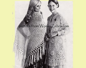 Vintage Crochet Pattern SHAWL STOLE Crocheting squares PDF 831 from WonkyZebra