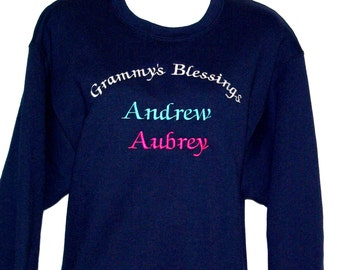 Grammy's Blessings Sweatshirt, Custom With FOUR Grandkids Name, Grandparent Gift, No Shipping Fee, MawMaw, Momo, Nana, Ships Today, AGFT 014