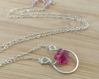 Horseshoe Necklace Pink Flower Pendant Necklace Sterling Silver Raspberry Pink Swarovski Crystal Beaded Necklace.