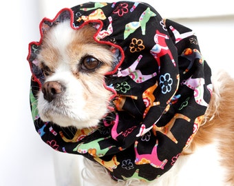 Dala Horses Dog Snood, Christmas, Winter, Stay-Put 3 Rows Elastic Thread, Cavalier King Charles or Cocker Snood