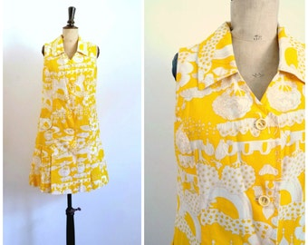 Vintage 60's Mini Shirt Dress Yellow Orange and White Cotton Print Exotic / Small to Medium