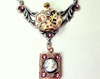 Vintage Rose Gold Watch Movement,17 Ruby Jeweled,Steampunk Necklace,Hand Carved Cameo,Mother of Pearl,Locket,Antique Pink Swarovski Crystals