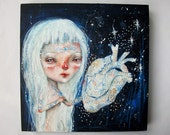RESERVED FOR TRISTAN - folk art Original girl painting mixed media art painting on wood canvas 8x8 inches - Take care with my fragile heart