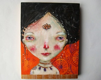 folk art Original girl painting orange mixed media art painting on wood canvas 8x6 inches - Choose Love