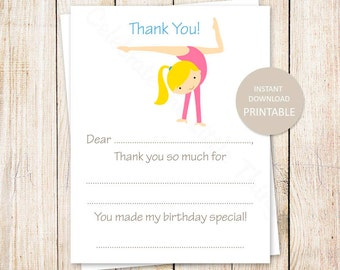 PRINTABLE gymnastics thank you cards . fill in the blank birthday thank you . girl gymnast tumbling . INSTANT DOWNLOAD