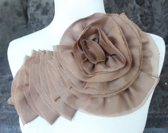 Nice ruffled  applique yoke   brown  color 1 pieces listing